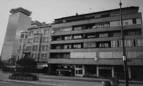 Skotthål i husfasad i Sarajevo