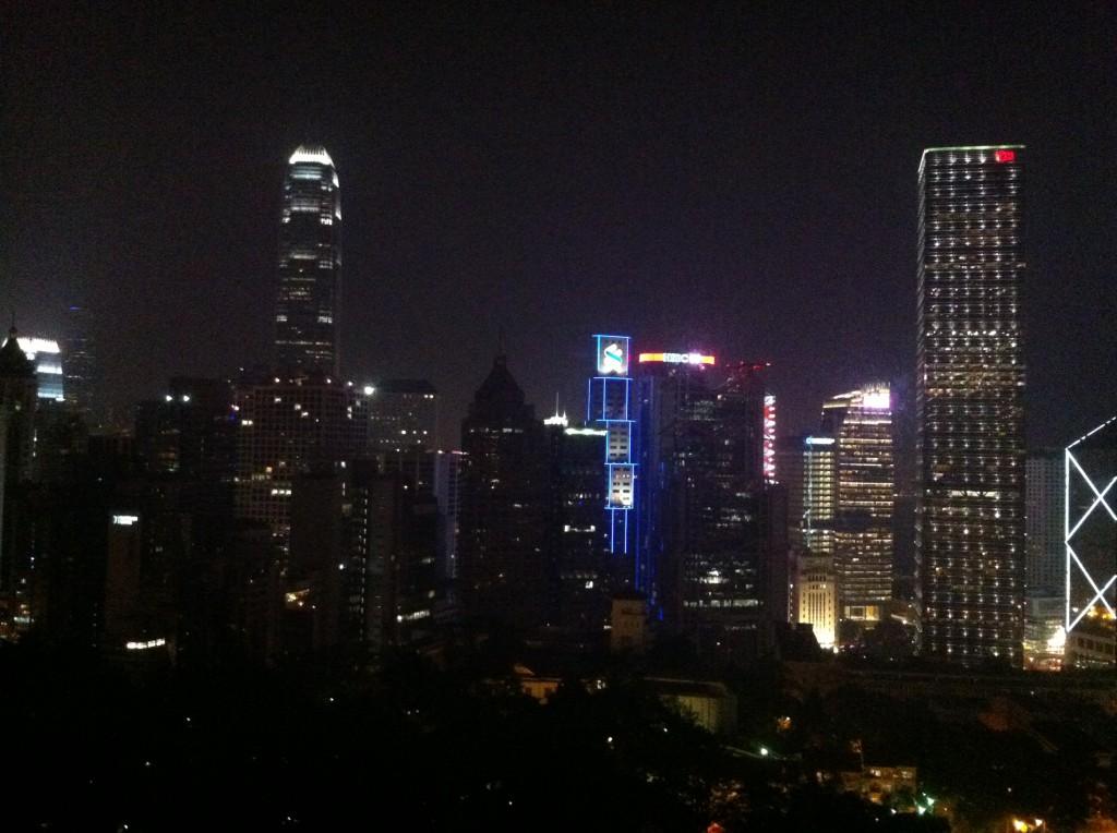Utsikt från hotellet över Hongkong