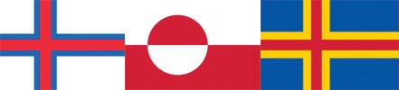 Flaggor Färöarna, Grönland och Åland