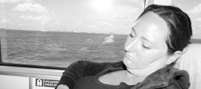 Jag sover på båt mellan Bintan och Singapore