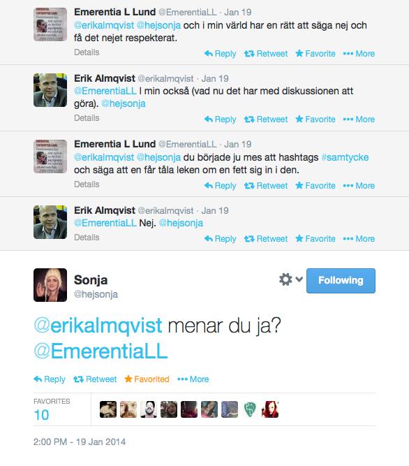 Hej Sonja och Erik Almqvist på Twitter