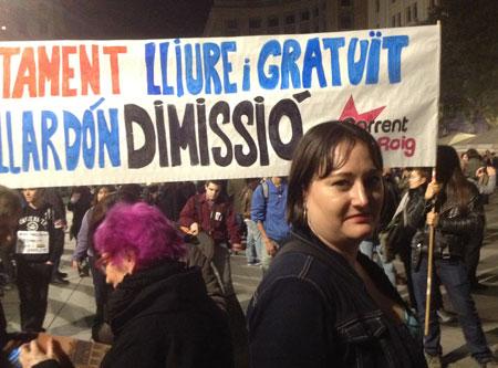 Demonstration för abort i Barcelona