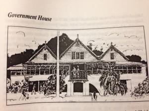 Skiss av regeringsbyggnaden i Kingstown, S:t Vincent och Grenadinerna