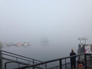 Hammarby Sjöstad i dimma