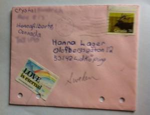 Brev från Crystal poststämplat i Hanna