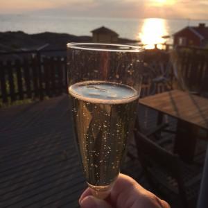 Champagne i solnedgång