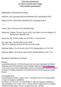 Litteraturlista Att skriva om litteratur Stockholms universitet
