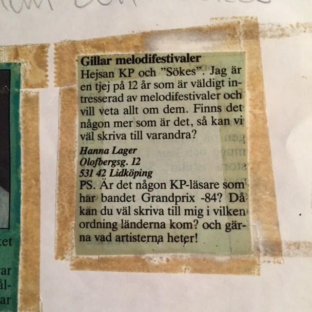 Melodifestivalsannons i KP 1990?