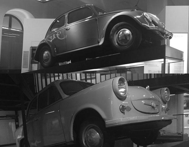 Olika bilar på historiska muséet