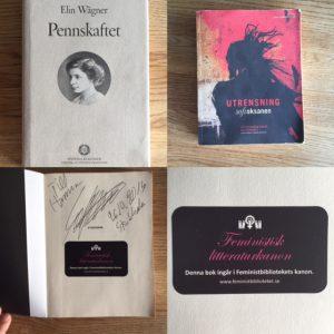 """Ett bildcollage av Pennskaftet av Elin Wägner, Utrensning av Sofi Oksanen, en signerad sida av Sofi Oksanen, en närbild på ett klistermärke med texten """"Denna bok ingår i Feministbibliotekets kanon"""""""