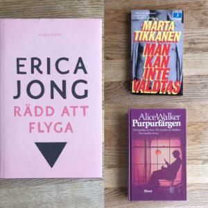 Kollage av böckerna Rädd att flyga av Erica Jong, Män kan inte våldtas av Märta Tikkanen och Purpurfärgen av Alice Walker.