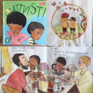 Ett bildcollage av boken Orättvist! av Åsa Mendel-Hartvig och Caroline Röstlund med omslag samt bilder från boken.