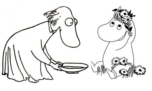 Muminfigurerna Hemulen och Snorkfröken