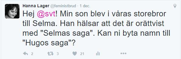 Jag skriver till SVT på Twitter