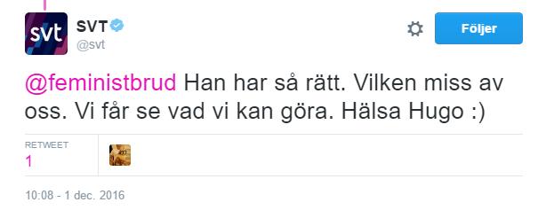 SVT till mig på Twitter