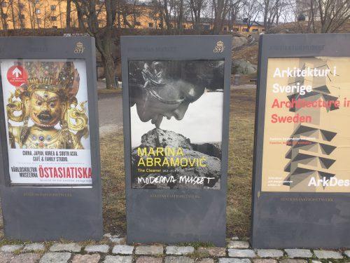 Reklam för föreställningen The cleaner av Marina Abramović