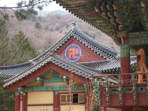 Byggnad vid Woljeongsas tempelkomplex i Pyeongchang