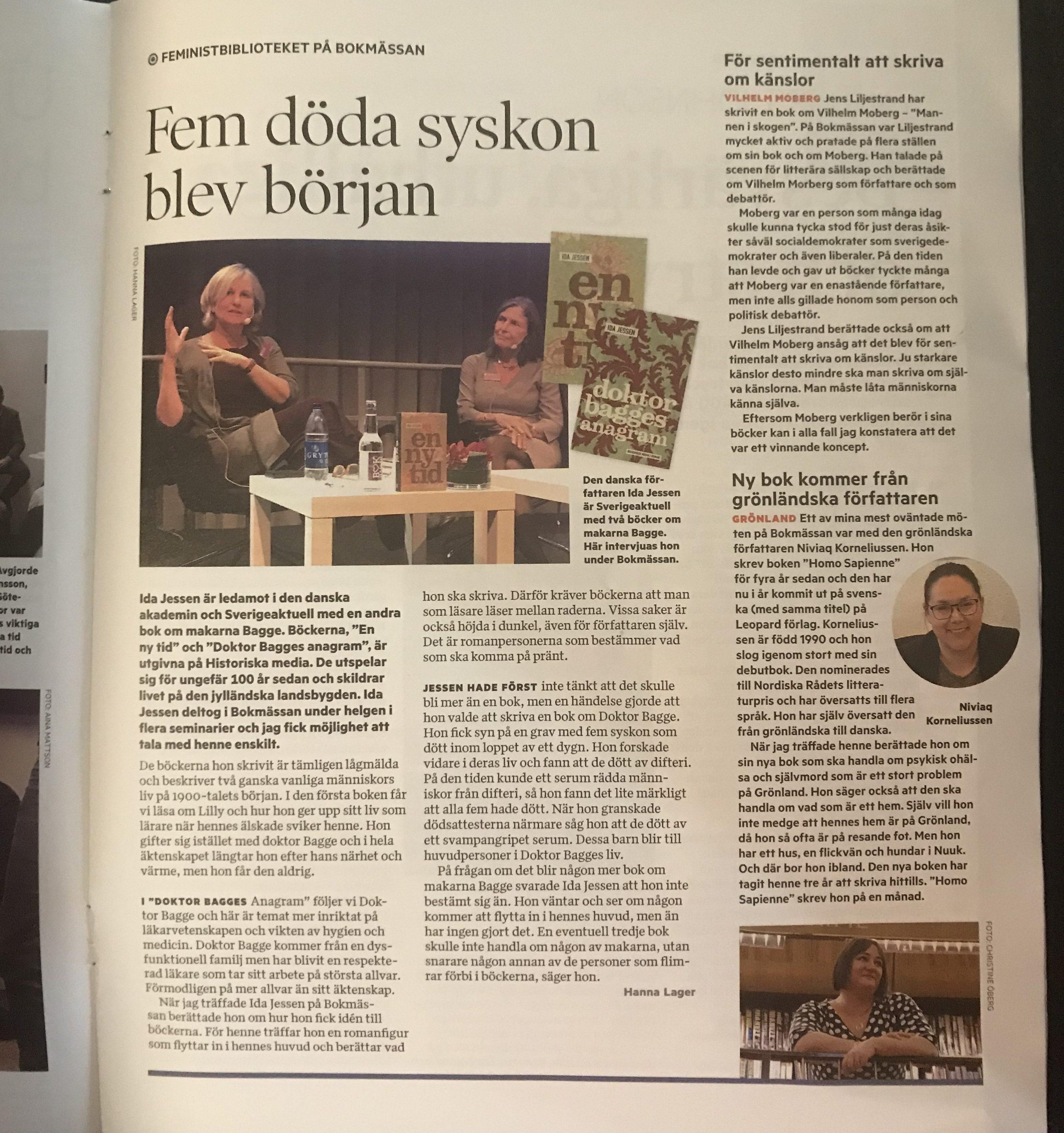 Om bokmässan 2018 i Tidningen Nu