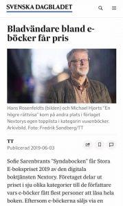 Skärmdump på nyhet om Sofie Sarenbrant