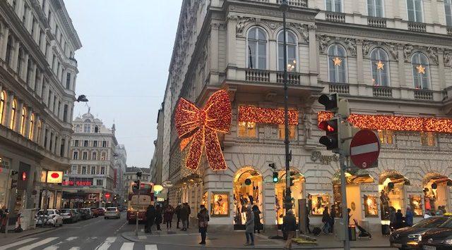 Centrala Wien med juldekorationer