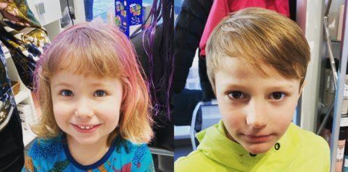 Barnen i nya frisyrer