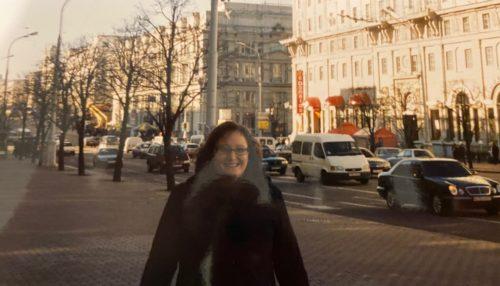 Jag på huvudgatan Minsk