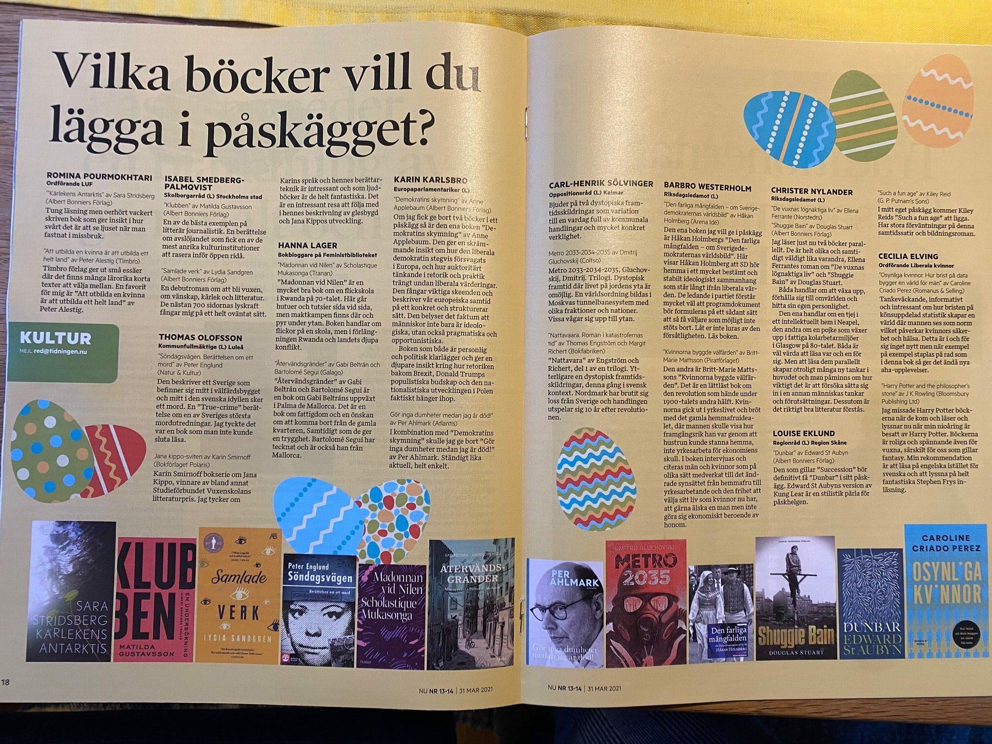 Böcker i Tidningen Nu påsken 2021